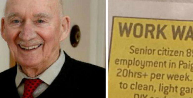 Este anciano solicitó empleo para 'no morir de aburrimiento'