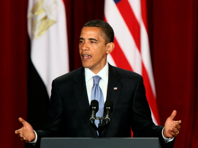 "U.S. President Barack Obama delivers a speech in the Grand Hall of Cairo University June 4, 2009. Obama sought a ""new beginning"" between the United States and the Muslim world on Thursday but offered no new initiative to end the Palestinian-Israeli conflict, an omission likely to disappoint many. REUTERS/Goran Tomasevic (EGYPT POLITICS RELIGION)"