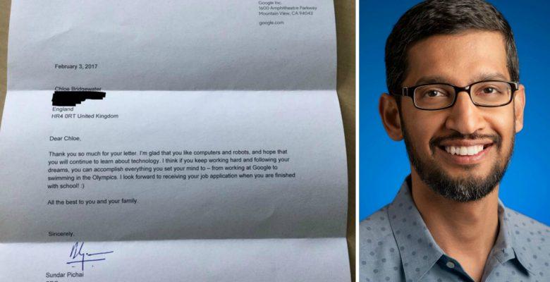 Así respondió el CEO de Google a la solicitud de empleo de una niña de 7 años