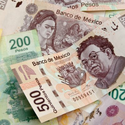 Mexican Pesos, bank notes, currency bills, money background