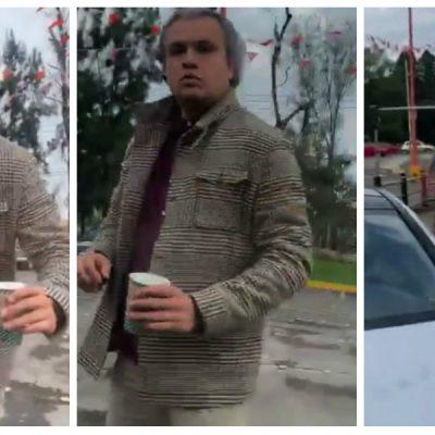 Le lanza su café a una mujer por percance vial con su Mercedez Benz