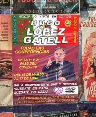 Venden conferencias de López-Gatell en puestos de películas piratas