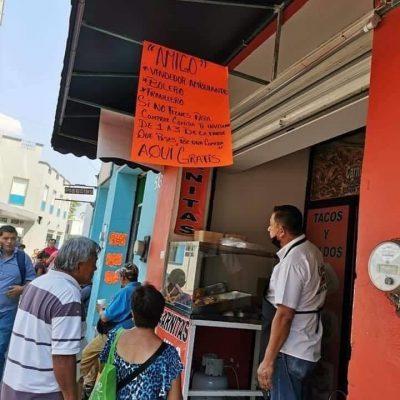 Local de carnitas regala comida a comerciantes que se quedaron sin ventas