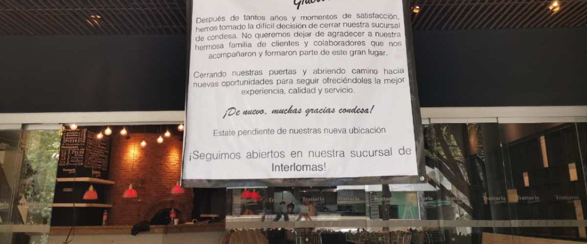 Restaurante de la Condesa cierra y así se despide de sus clientes