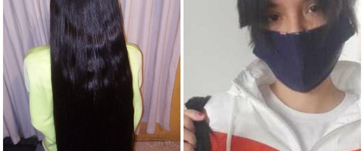 Joven vende su cabello en redes para pagar el oxígeno de su abuelito